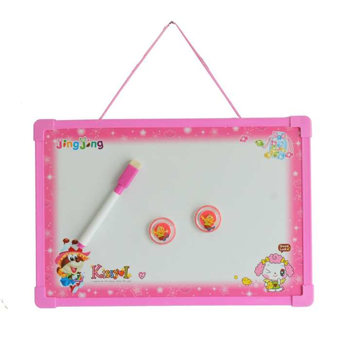 Pink 2 In 1 Whiteboard/Blackboard With Pen And Duster