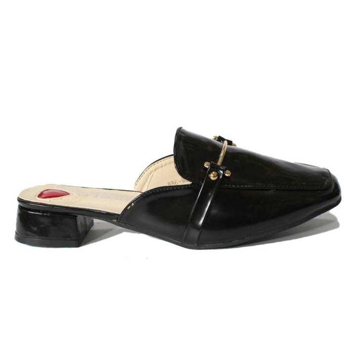 Black Slip On Mules For Women