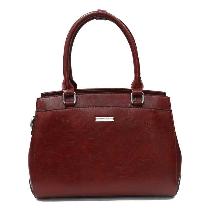 Red Shiny Textured Handbag For Women