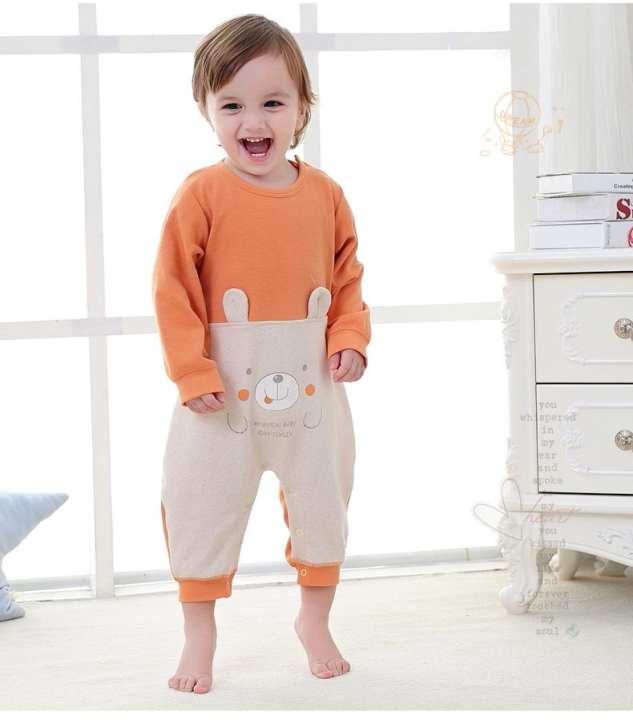 Cream/Orange Cotton Rompers For Kids