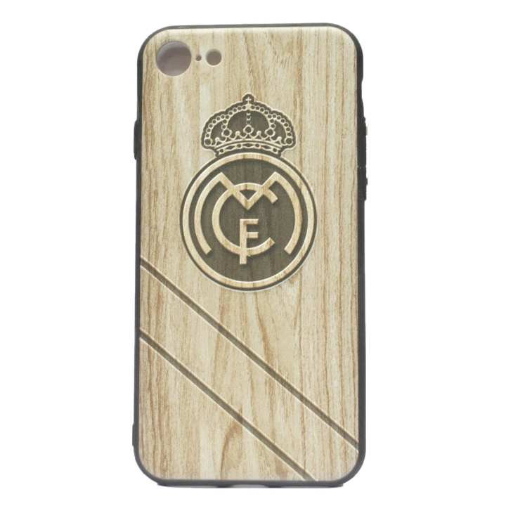 Real Madrid Logo Printed Mobile Cover For Iphone 8 - (Brown)