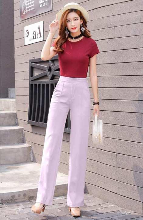 Blush Pink Silk Formal Pant For Women