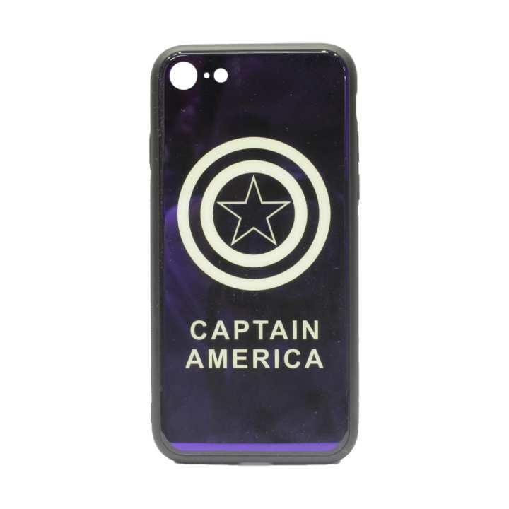 Captain America Printed Mobile Cover For Iphone 7 - (Metallic Blue)