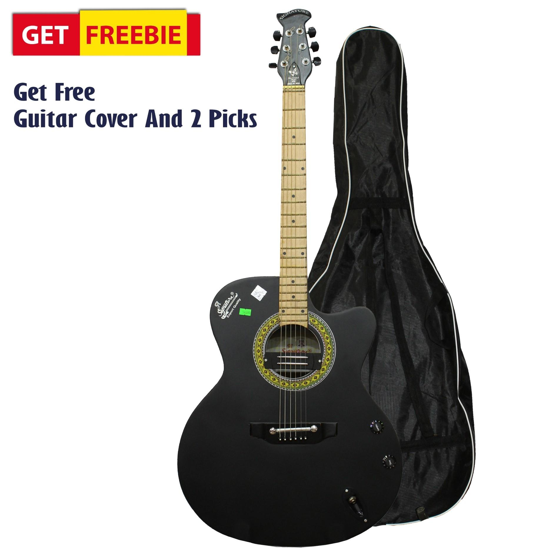 Matte Black Indian Guitar With Free Cover And 2 Picks