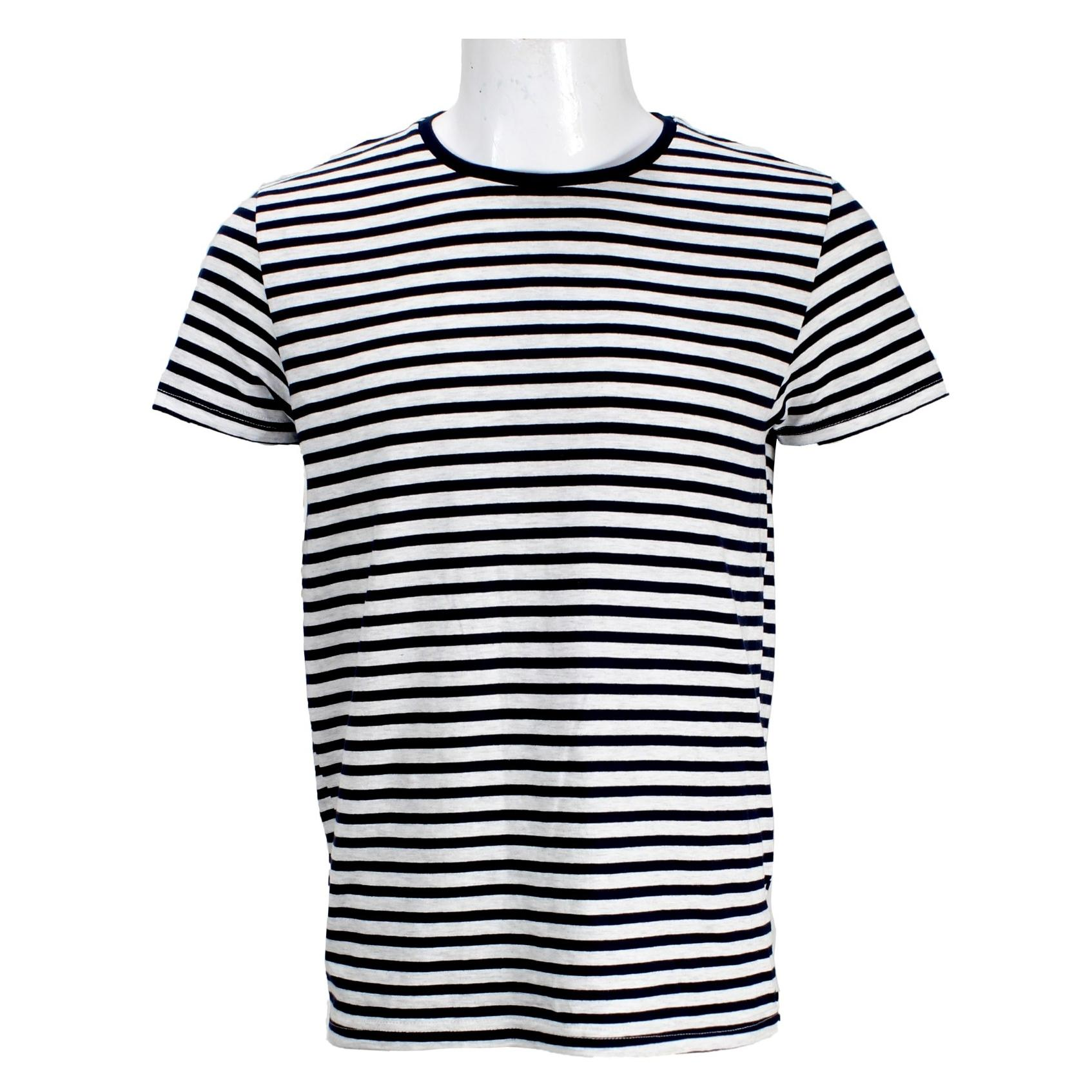 e45431aad5b441 Blue/White Striped Round Neck T-Shirt For Men