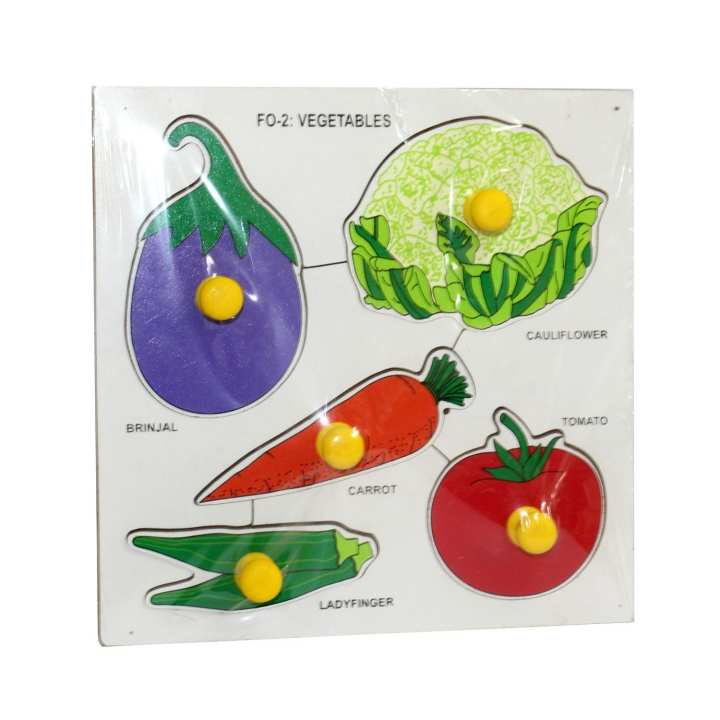 Multicolored Vegetable Shapes Tray Puzzle With Knobs For Kids