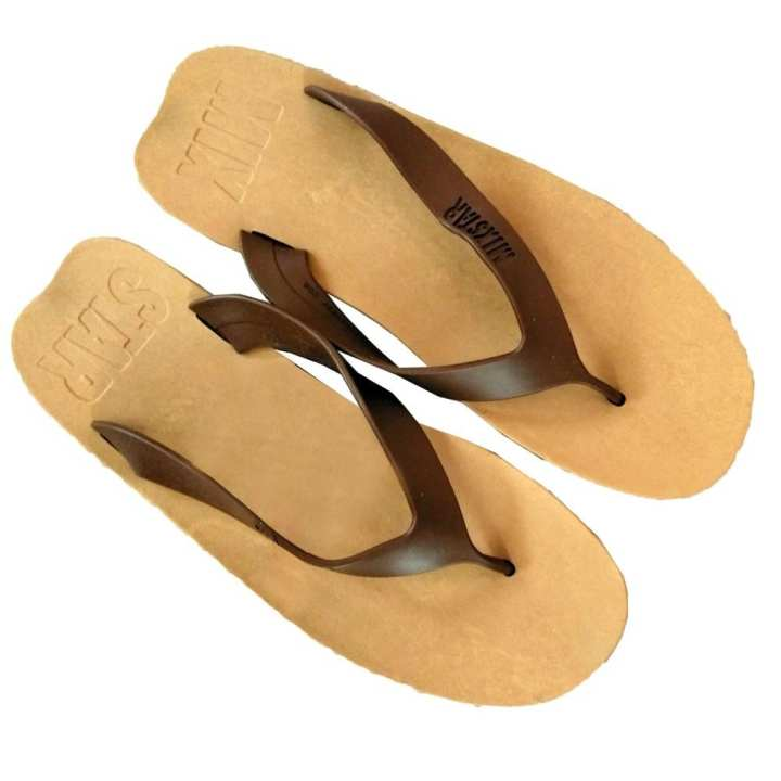 Brown/Cream Rubber Slippers For Men