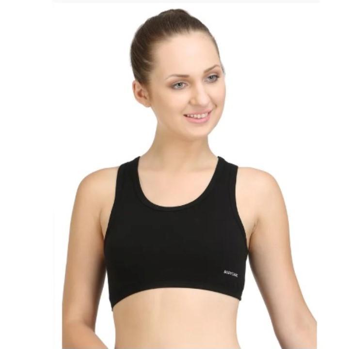 c4a22060df Bodycare Black Cotton Spandex Sports Bra For Women - 1610B