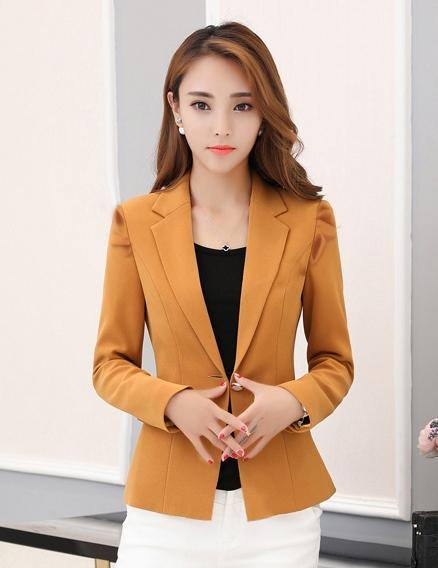 Camel Brown Korean Fashion Formal Blazer For Women