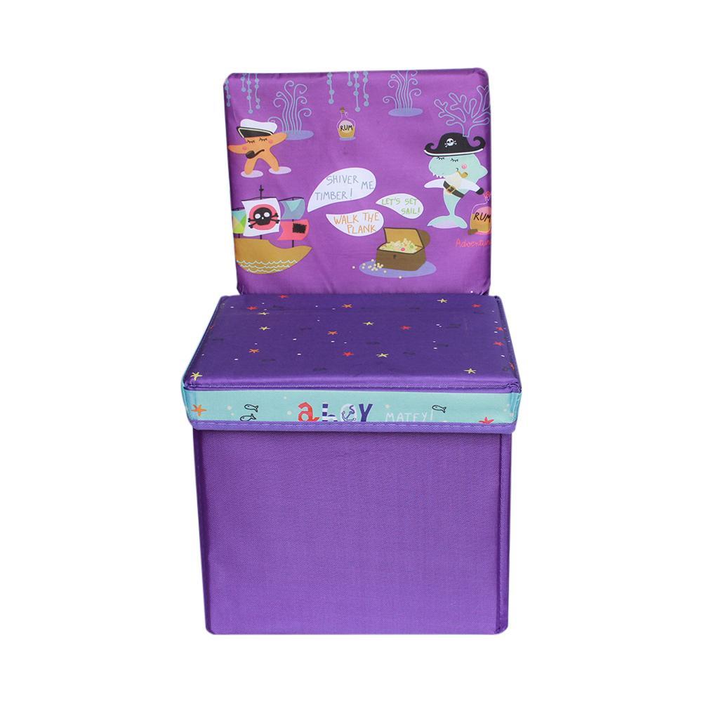 Purple Printed Foldable Ottoman Chair For Kids
