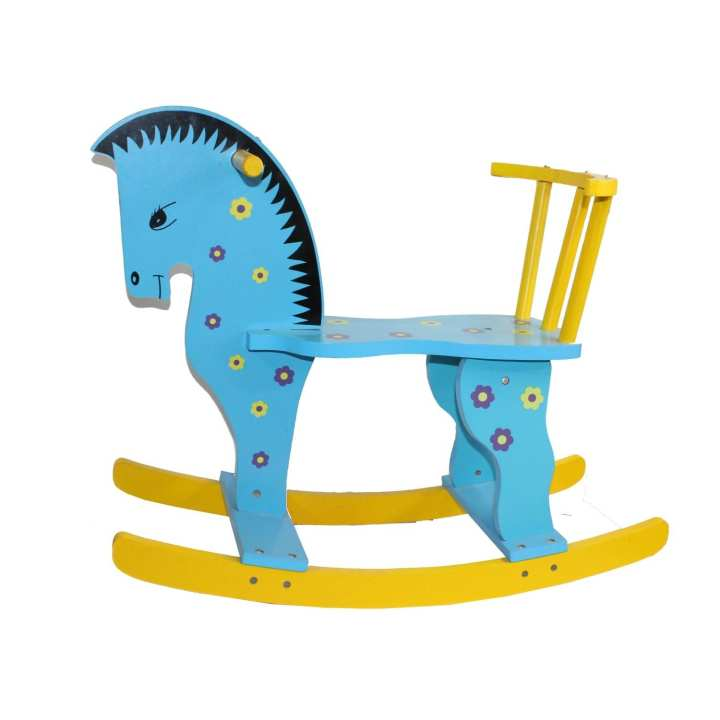 Blue/Yellow Wooden Rocking Horse For Kids