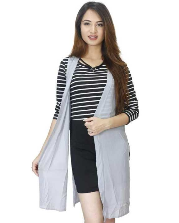 Black/Grey Striped Mini Dress With Outer For Women