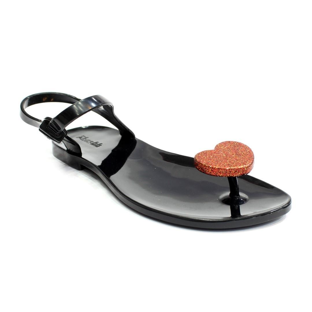 7e718b9304bb Black Orange Jelly Heart to Heart Strappy Sandals For Women