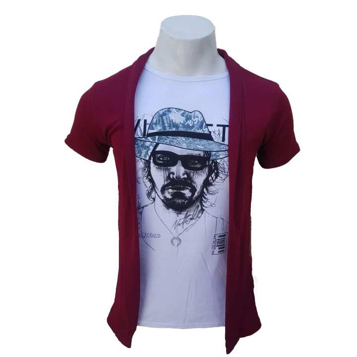Maroon Printed Outer Attached Tshirt For Men