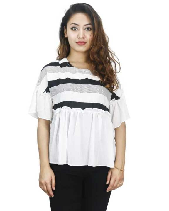 White/Black Chiffon Flared Top For Women