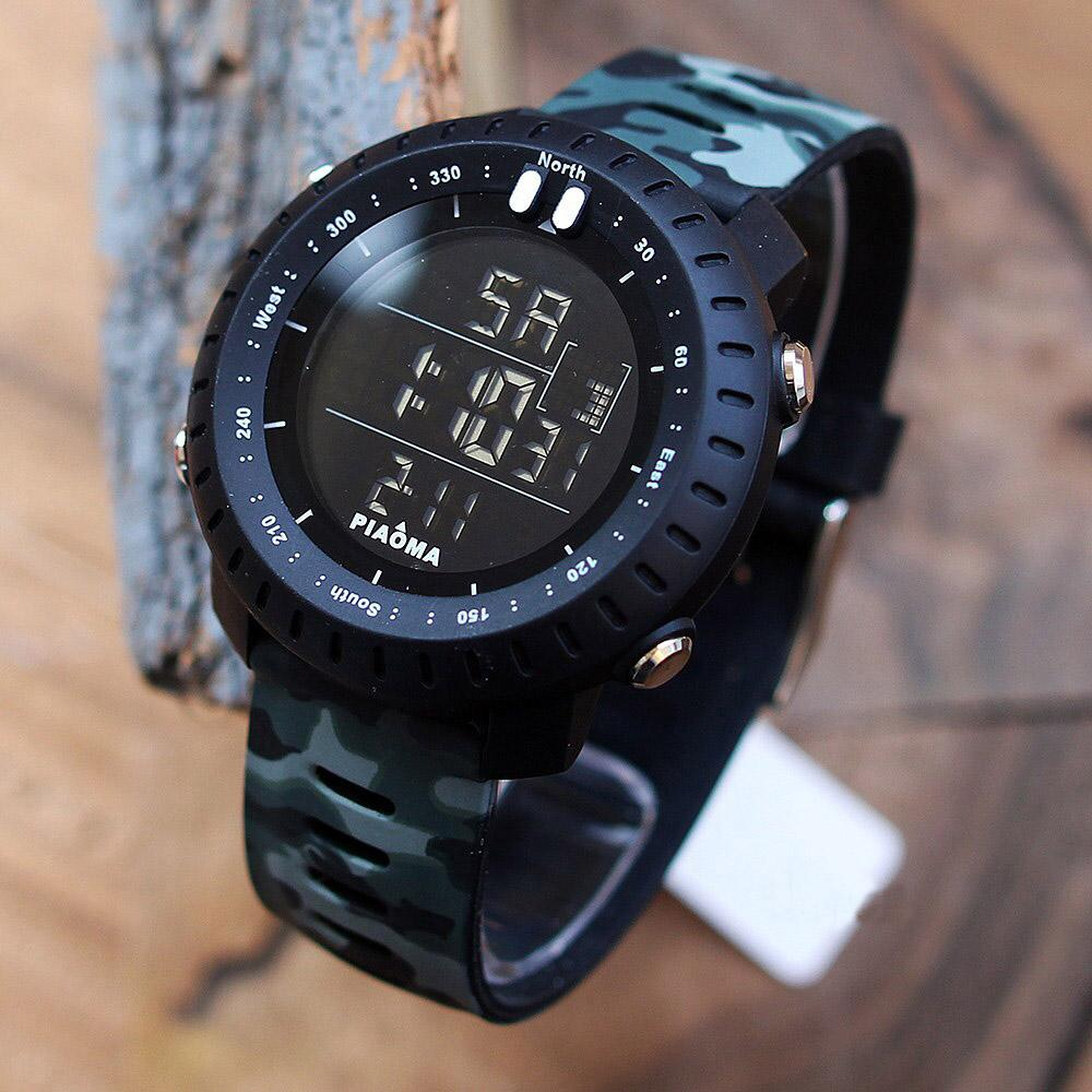 Piaoma Black/Green Camouflage Strap Digital Watch For Men - PM3