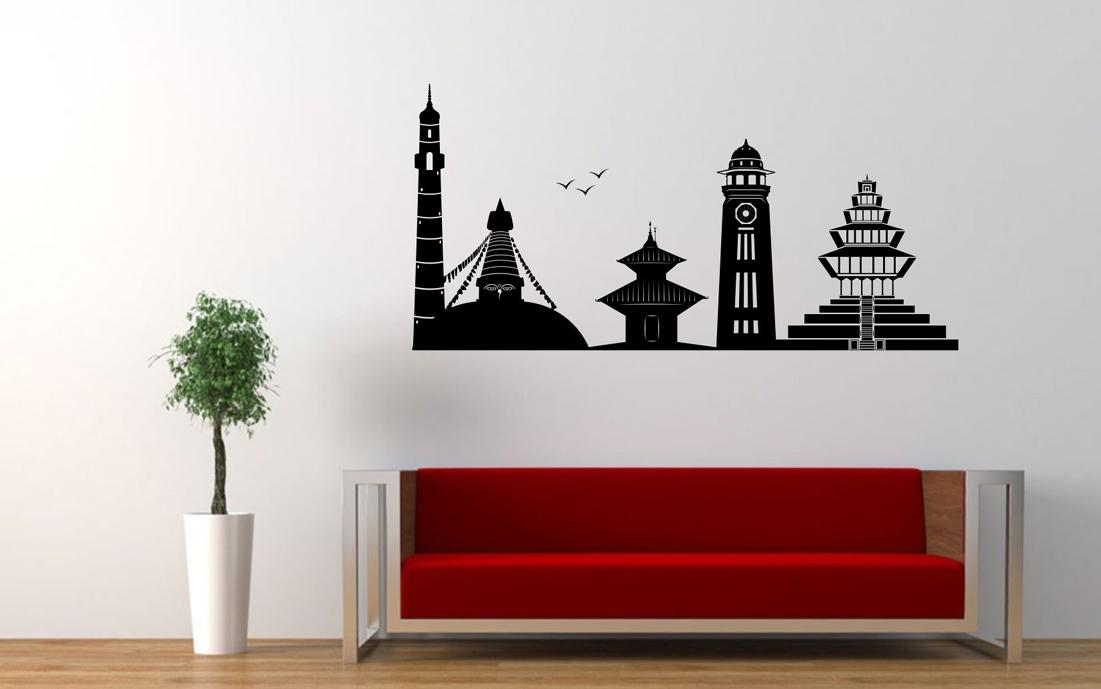 ktm1 - hamro kathmandu decorative wall sticker - 104cm*51cm - black