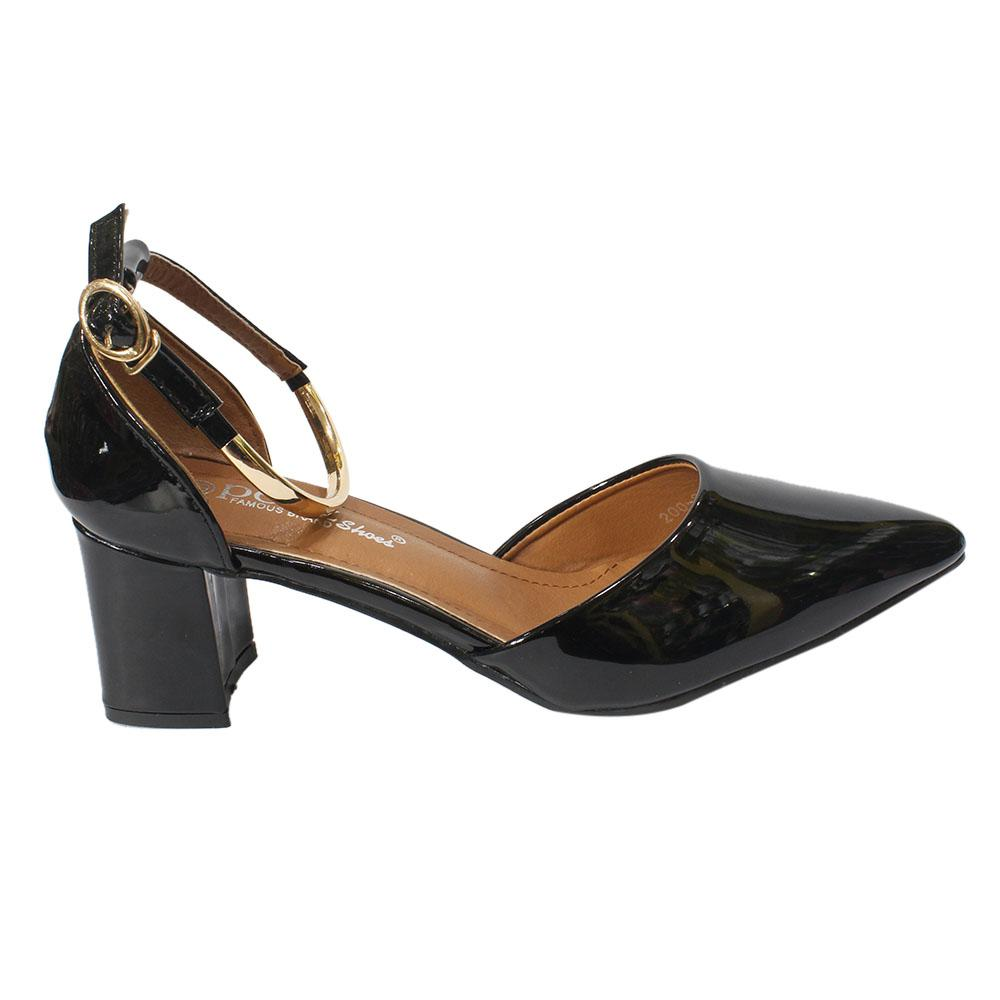 3590d2185ee5 Shiny Block Heel Closed Ankle Strap Shoes For Women - 200-8