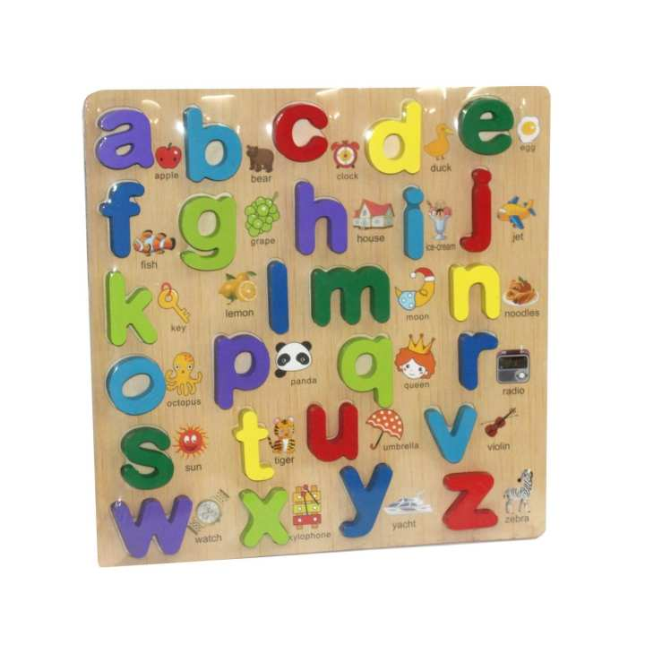 Multicolored Raised English Small Alphabet With Picture For Kids