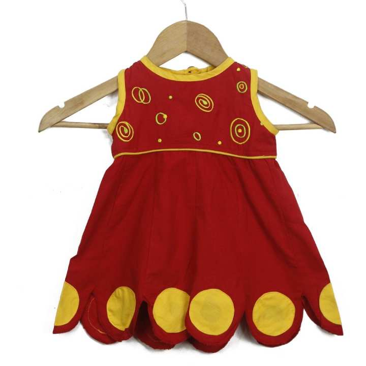 Red/Yellow 100% Cotton Printed Dress For Girls - f27.5.57