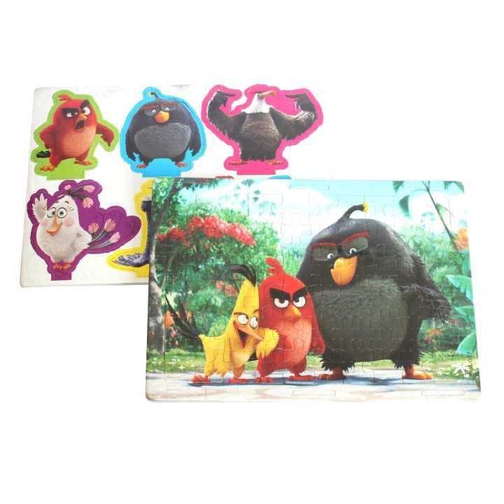 Multicolored Angry Birds Jigsaw Puzzle With Stickers For Kids