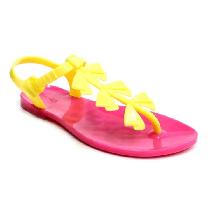 Pink/Yellow Jelly Candy Bows T-Strap Sandals For Women