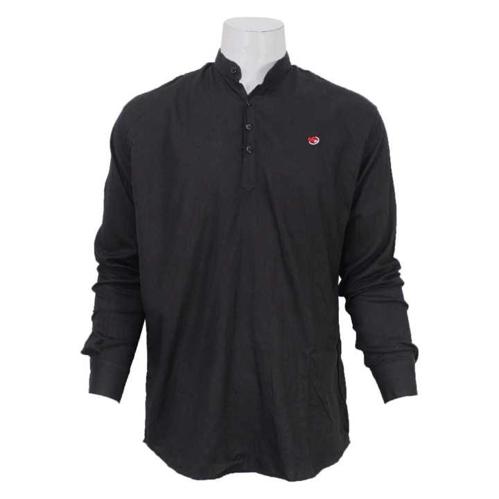 Black Cotton Kurta Shirt For Men