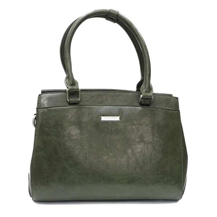 Green Shiny Textured Handbag For Women