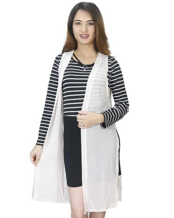 Black/Cream Striped Mini Dress With Outer For Women