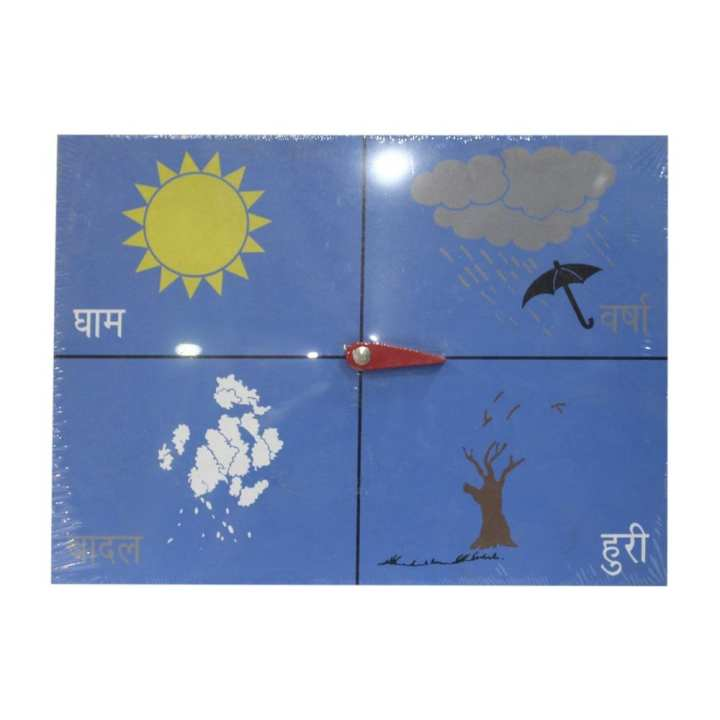 Blue Wooden Weather Learning Board For Kids