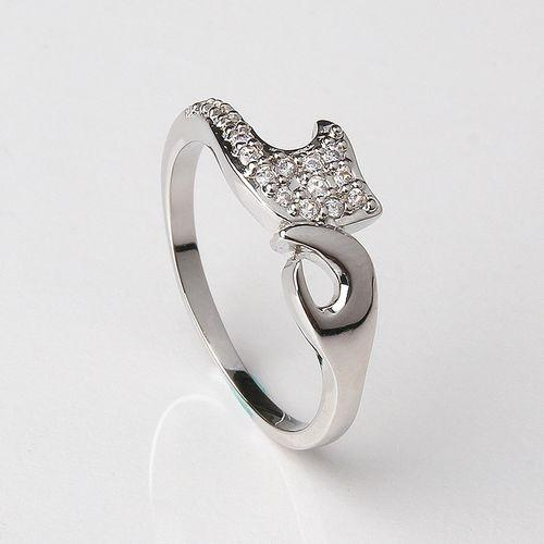 OUXI Silver White Metal Holding Hand Zircon Ring For Women-K40032