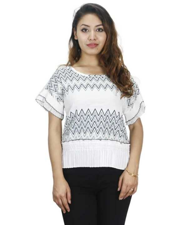 White Line Pattern Chiffon Top For Women