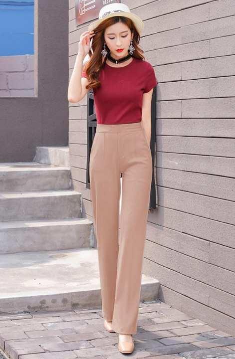 Salmon Pink Silk Formal Pant For Women