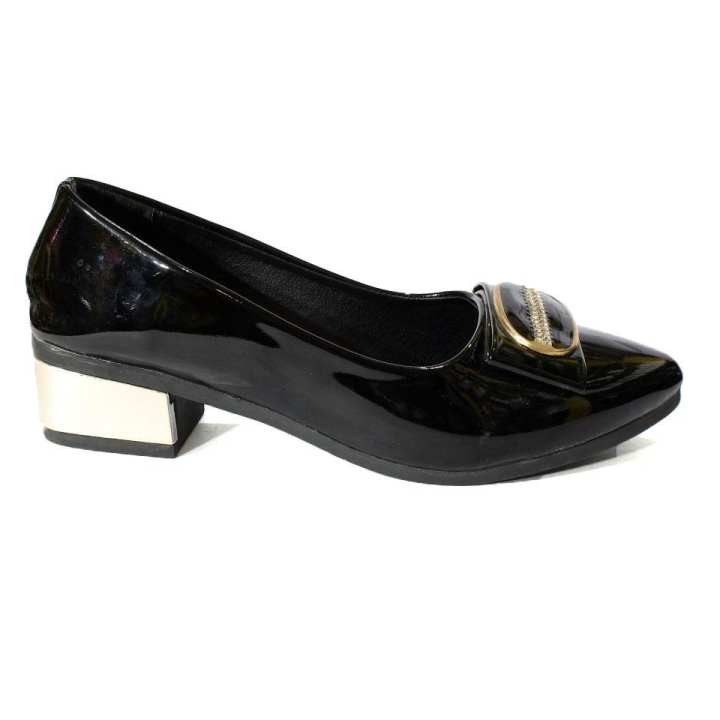 Black Shiny Closed Shoes For Women