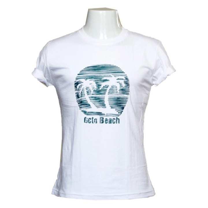 White Cotton Octo Beach T-Shirt For Men