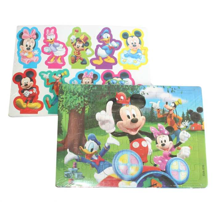 Multicolored Mickey Mouse Jigsaw Puzzle With Stickers For Kids