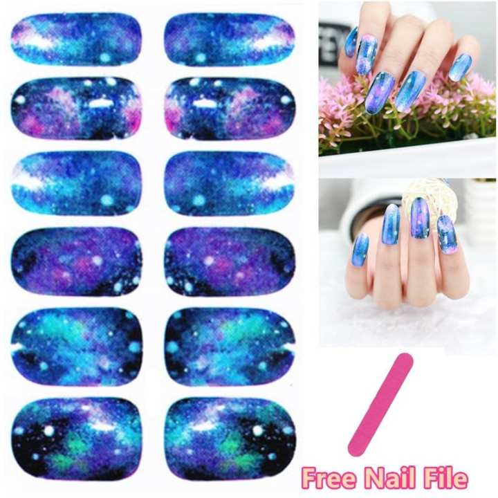 Dark Purple Galaxy Figure Design Nail Art Sticker Self Adhesive