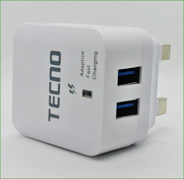 Tecno Switching Mode Power Supply Fast Charger Adapter Dock 2 4A( 2 USB)