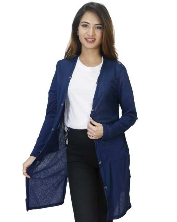 Blue Buttoned Shrugs For Women