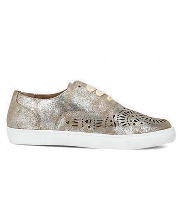 Carlton London Golden Laser Cut Sneakers For Women (CLCLL-4109GLD)