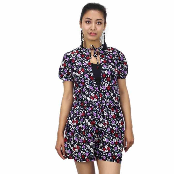 Floral Printed Half Sleeve Jumpsuit For Women