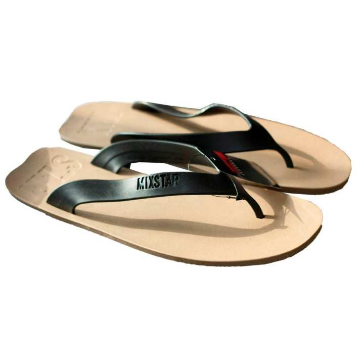 Black/Cream Rubber Slippers For Men