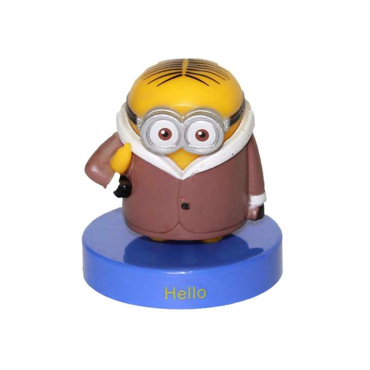 Yellow/Brown Plastic Minion With Banana Toy For Kids