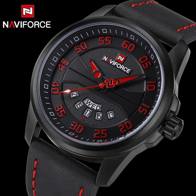 NaviForce NF9124 Militiary Sports Leather Wrist Watch For Men- Black/Red
