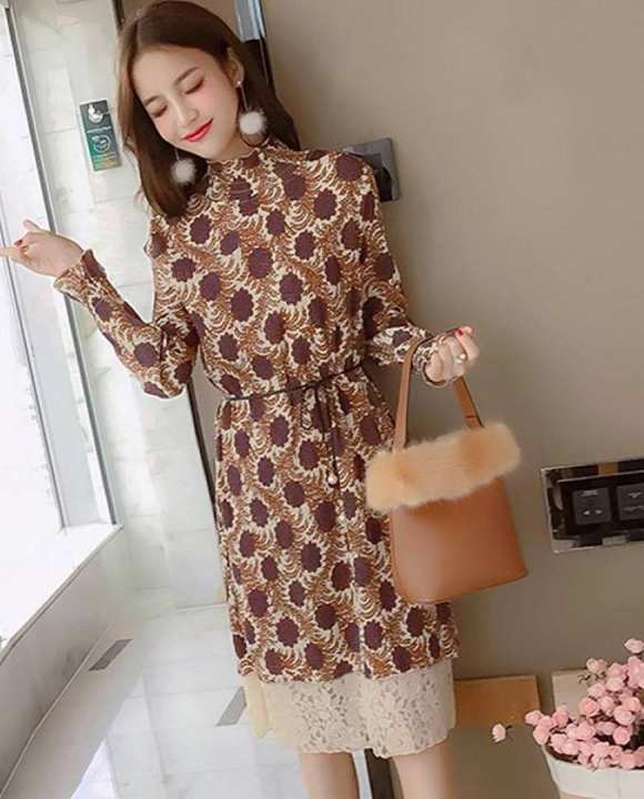 Brown High Neck Printed Dress For Women