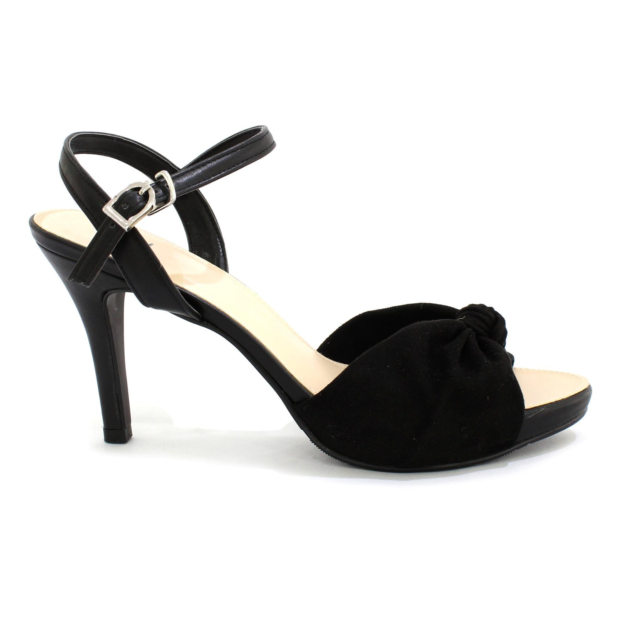 245680e6073f DMK Black Bow Designed Ankle Strap Heel Shoes For Women - 15425
