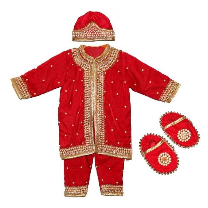 Set Of Red Velvet Embroidered Dress For Babies