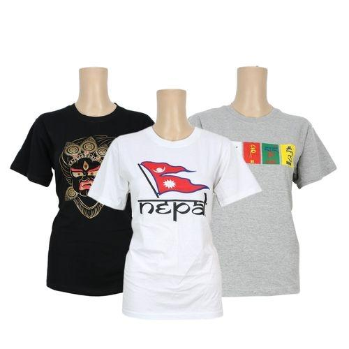 Pack Of 3 Printed 100% Cotton T-Shirt For Women- Black/White/Grey