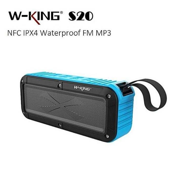 W-KING S20 Portable Waterproof Bluetooth Super Bass Loudspeaker- Blue