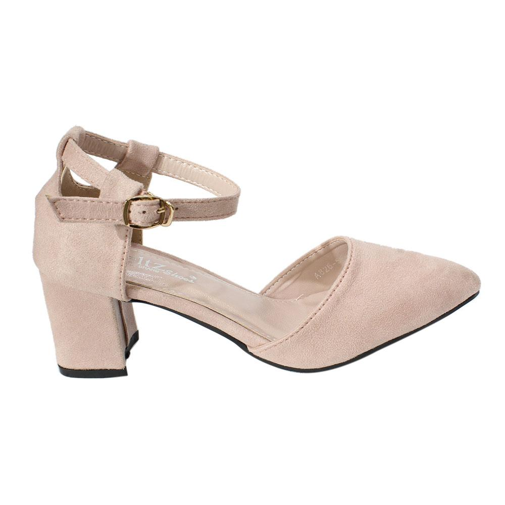 7148b2472f73 Block Heel Suede Closed Ankle Strap Shoes For Women - AA26-55-11